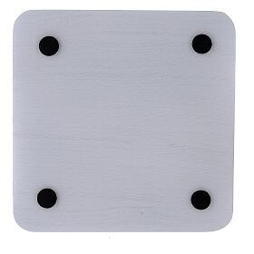 Piatto portacandela alluminio bianco quadrato 14x14 cm s3