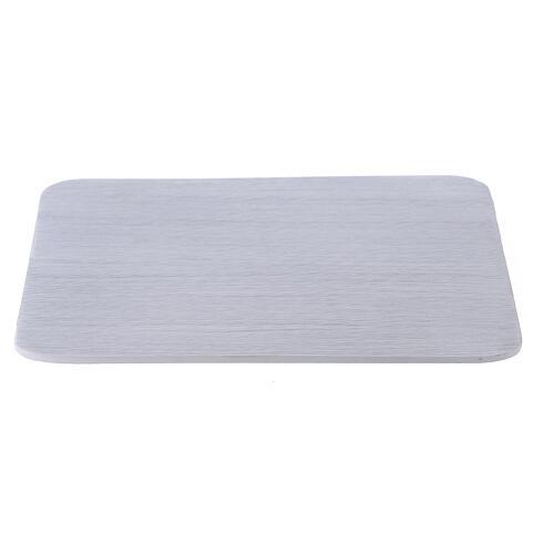 Piatto portacandela alluminio bianco quadrato 14x14 cm 1