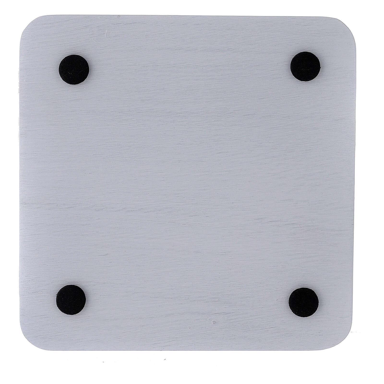 Prato porta-vela alumínio branco quadrado 14x14 cm 3