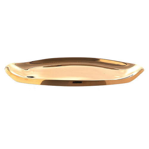 Piatto portacandela ottone dorato lucido barca 9x4 cm 1