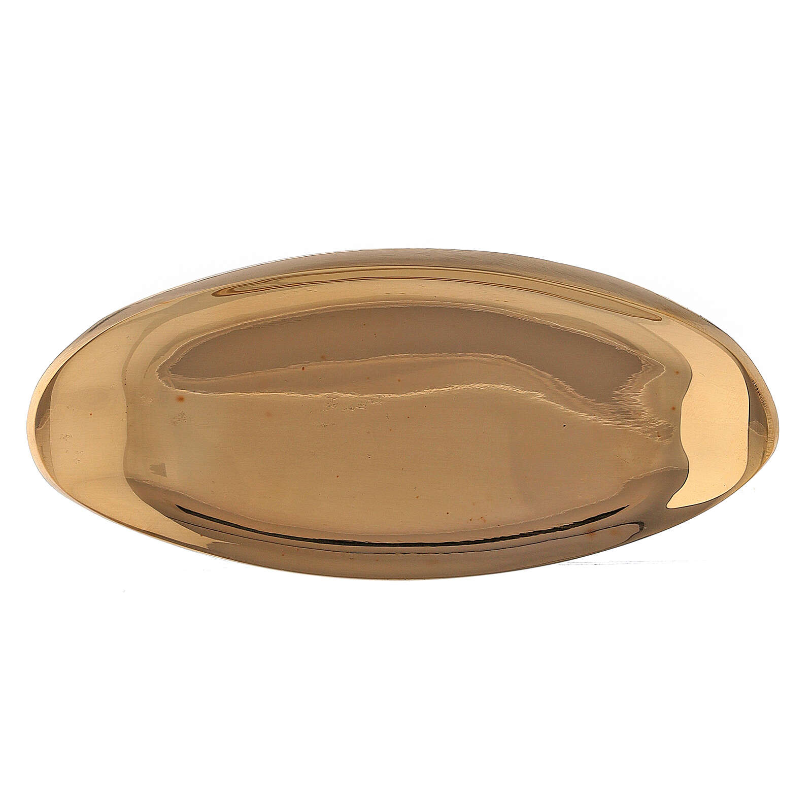 Boat shaped candle holder plate in polished gold plated brass 3 1/2x1 1/2 in 3