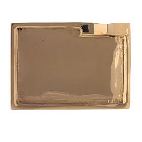 Rectangular candle holder plate in polished brass 3 1/2x2 1/2 in s2