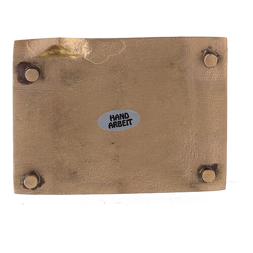 Plato portavela latón satinado rectangular elevado 9x6 cm 3