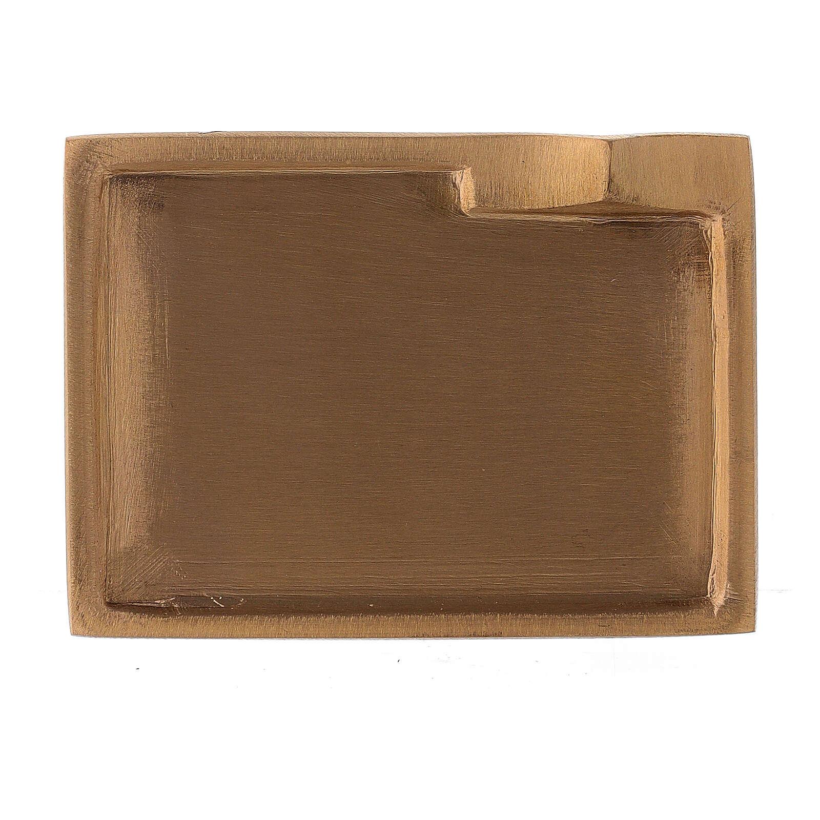 Piatto portacandela ottone satinato rettangolare rialzo 9x6 cm 3