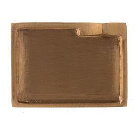 Piatto portacandela ottone satinato rettangolare rialzo 9x6 cm s2