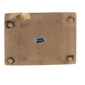Piatto portacandela ottone satinato rettangolare rialzo 9x6 cm s3
