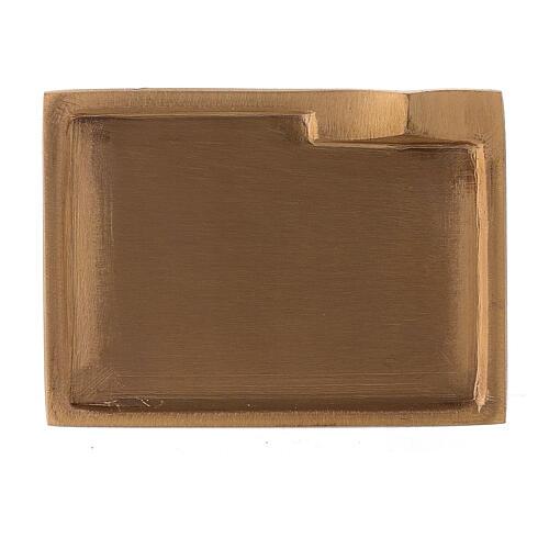 Piatto portacandela ottone satinato rettangolare rialzo 9x6 cm 2