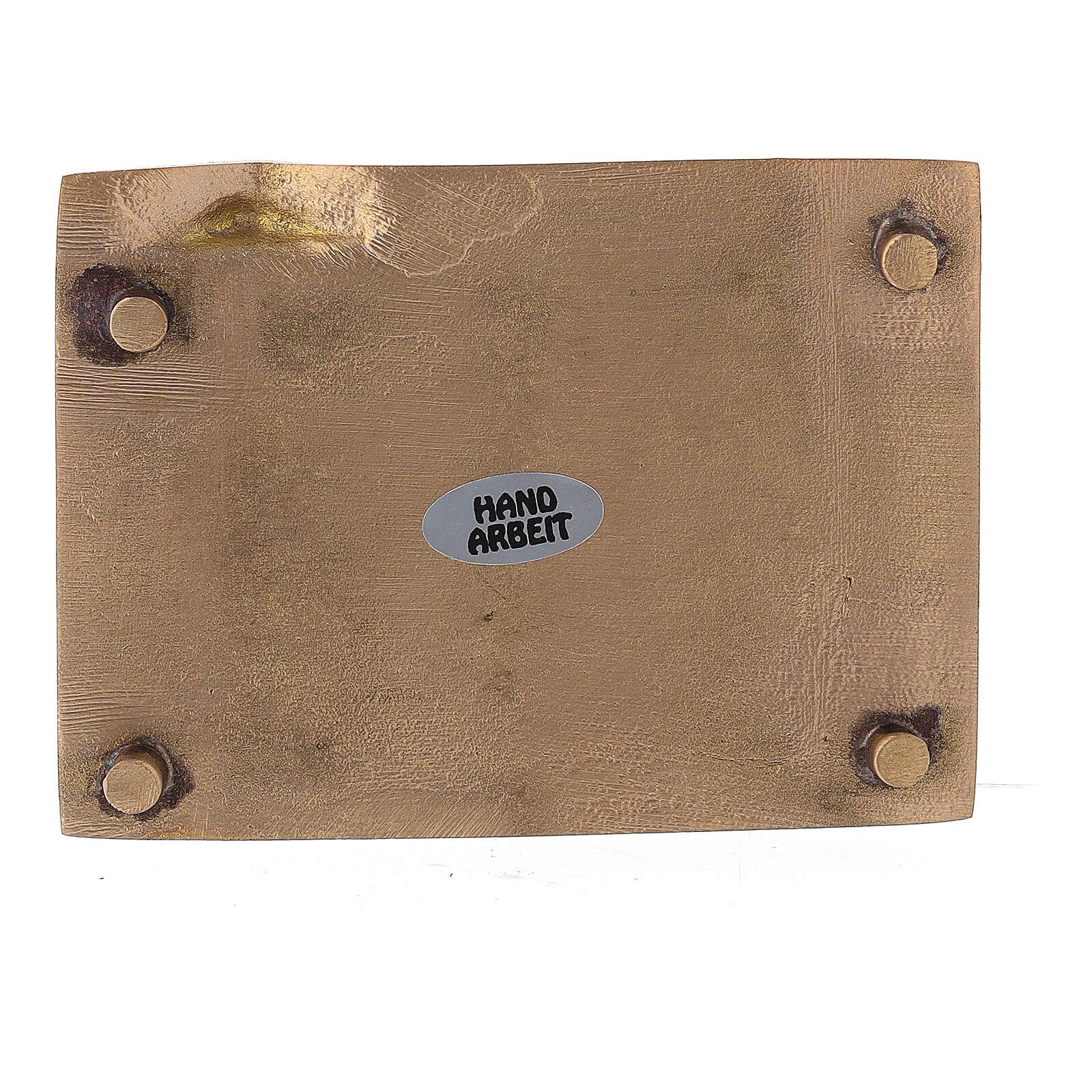 Prato porta-vela latão acetinado retangular bordo sobreelevado 9x6 cm 3