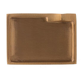 Rectangular candle holder plate satin finish brass 3 1/2x2 1/2 in s2