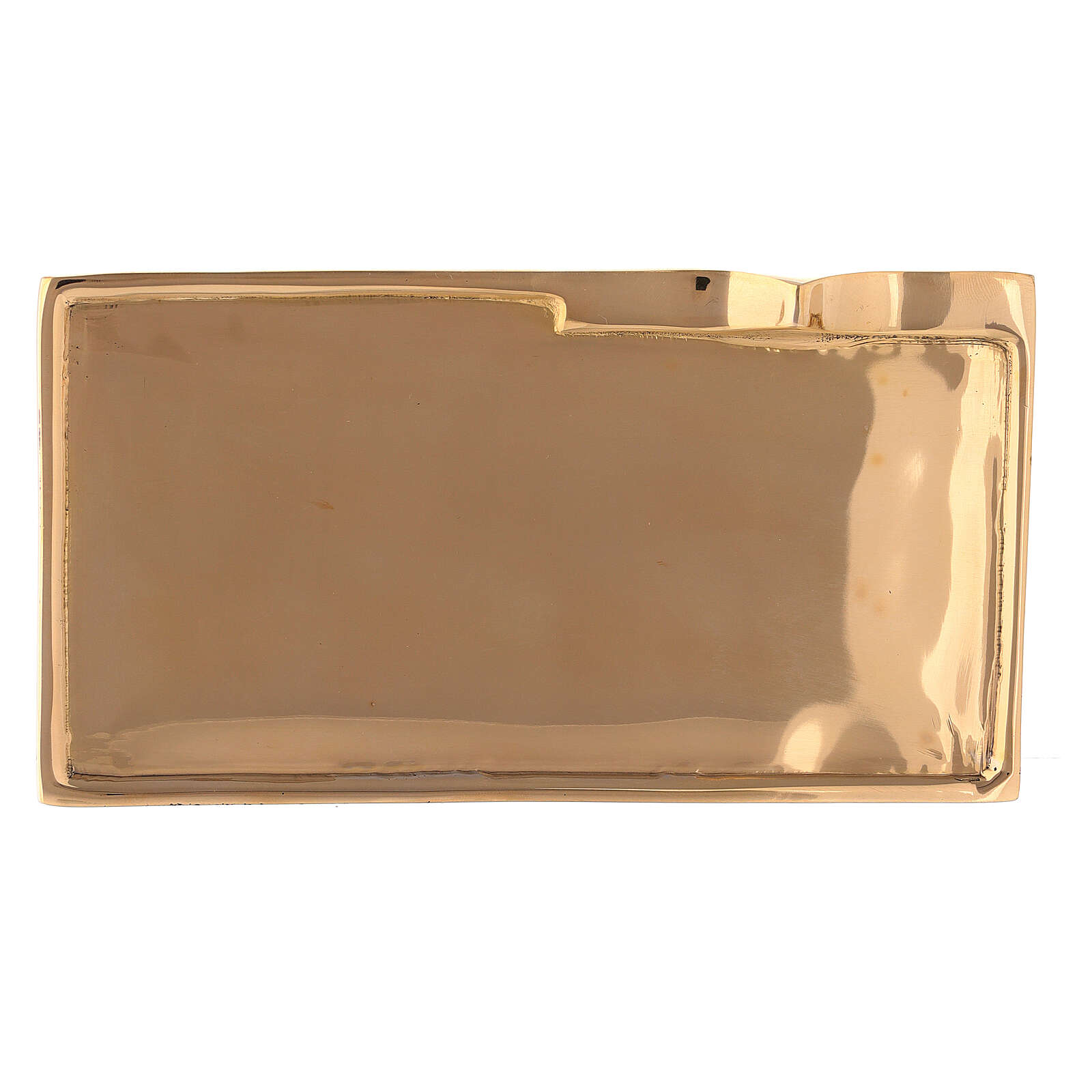 Rectangular candle holder plate gold plated brass 6x2 3/4 in 3