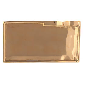 Rectangular candle holder plate gold plated brass 6x2 3/4 in s2