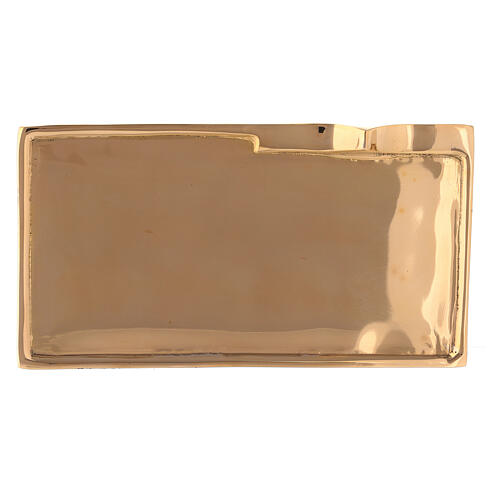 Rectangular candle holder plate gold plated brass 6x2 3/4 in 2