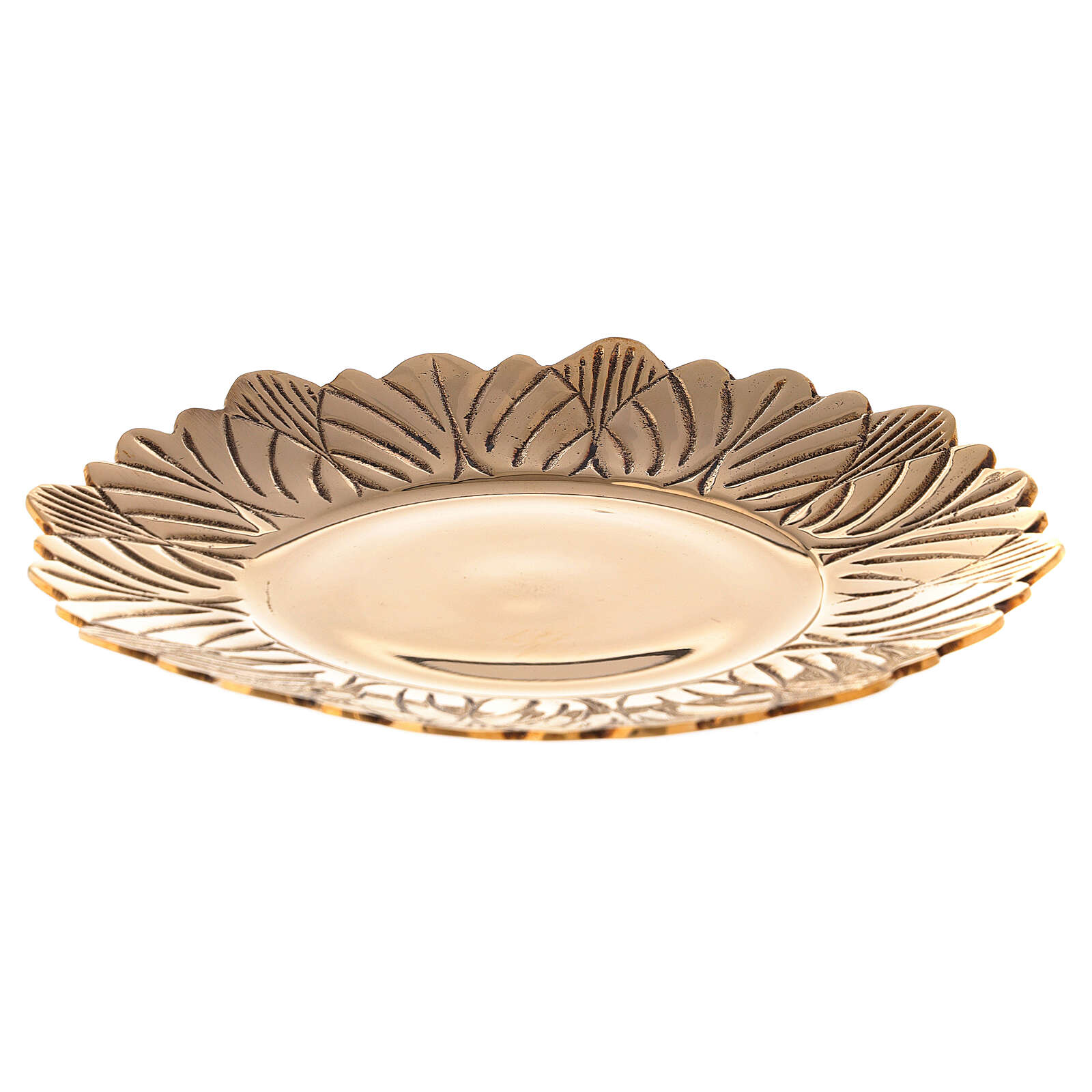 Leaf pattern candle holder plate in gold plated brass diameter 6 3/4 in 3