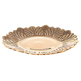 Leaf pattern candle holder plate in gold plated brass diameter 6 3/4 in s1