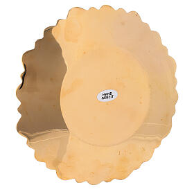 Leaf pattern candle holder plate in gold plated brass diameter 6 3/4 in s3
