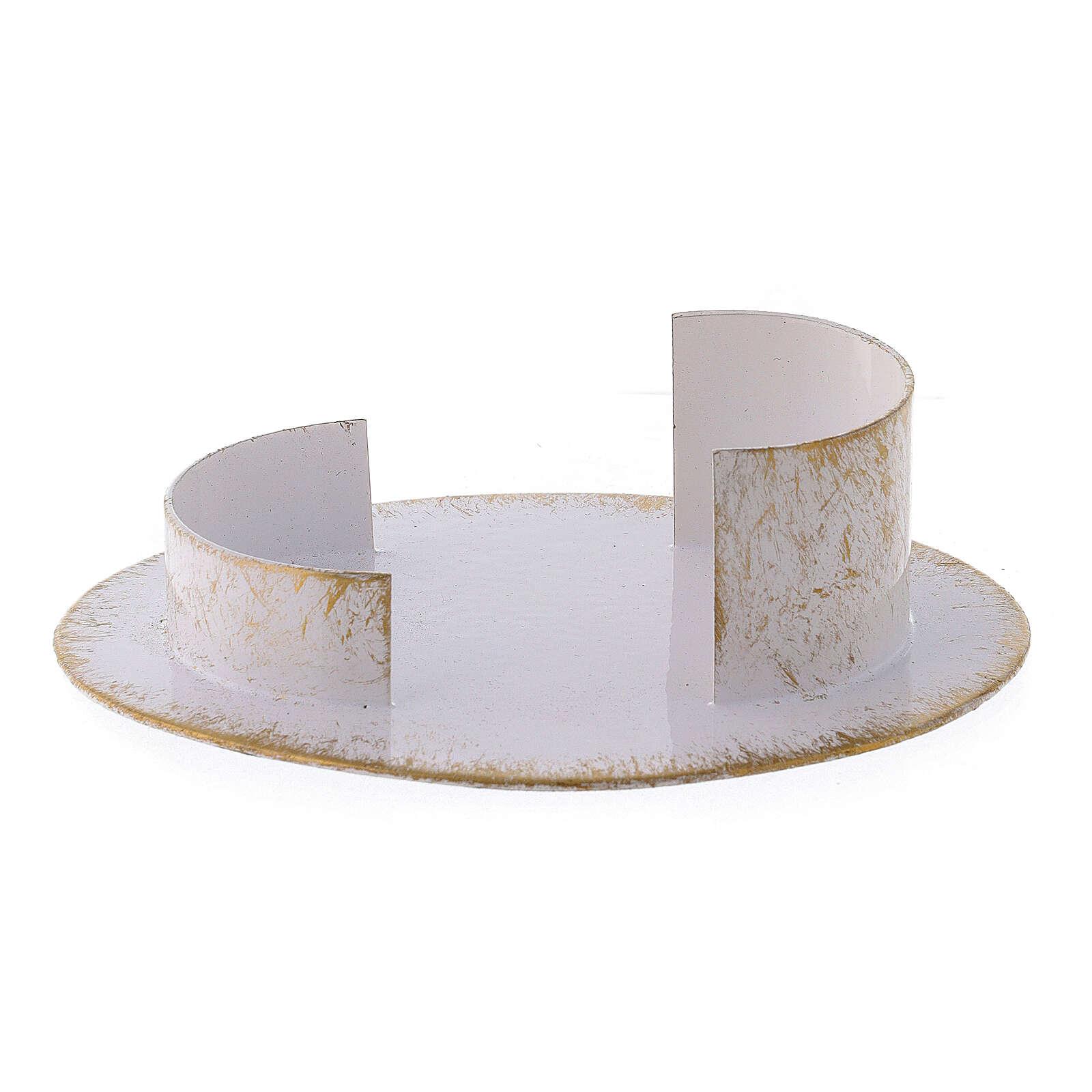 Base vela ovalada latón blanco oro 9x5 cm 3