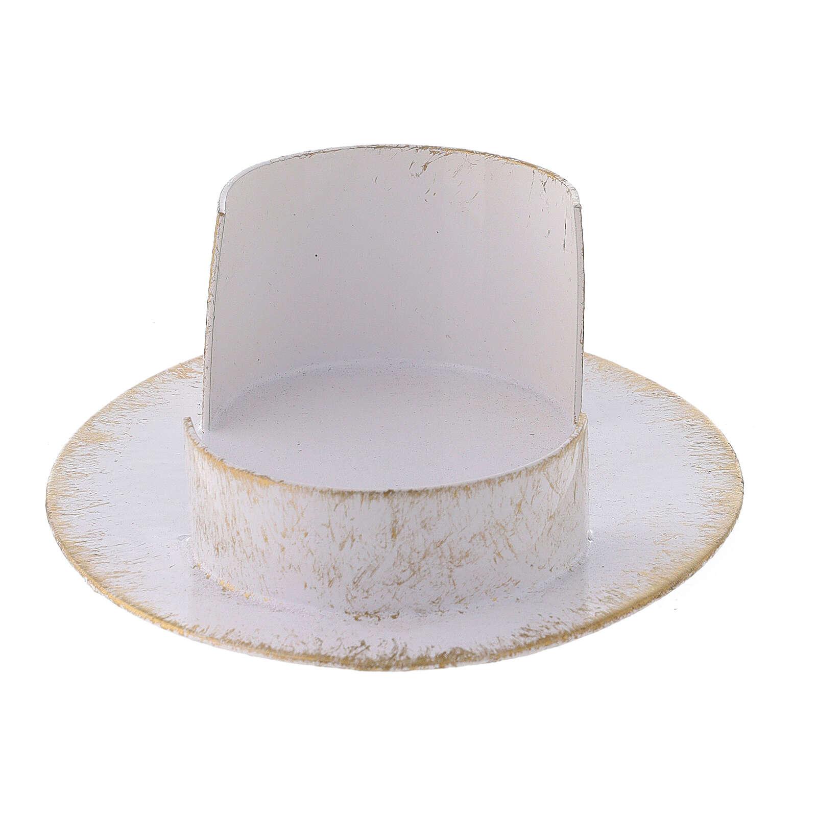 Base candela ovale ottone bianco oro 9x5 cm 3