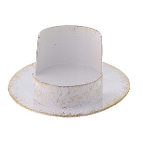 Base candela ovale ottone bianco oro 9x5 cm s3