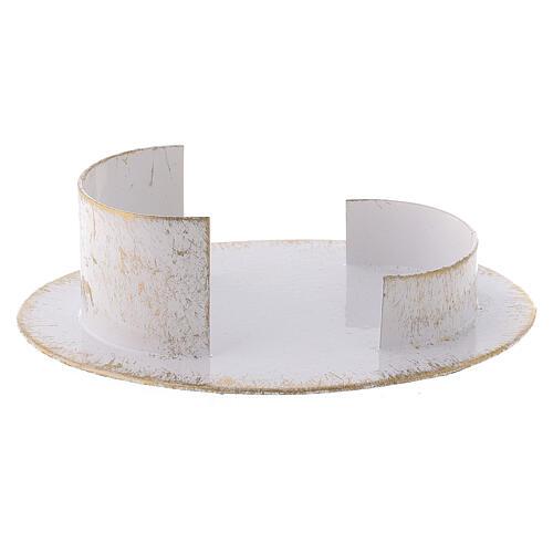 Base candela ovale ottone bianco oro 9x5 cm 2