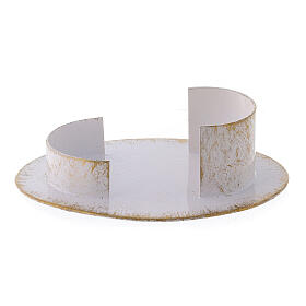 Base vela oval latão branco ouro 9x5 cm s1