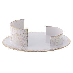 Base vela oval latão branco ouro 9x5 cm s2