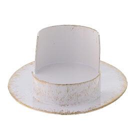 Base vela oval latão branco ouro 9x5 cm s3