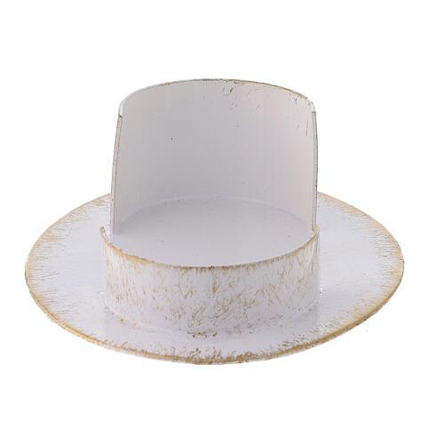 Base vela oval latão branco ouro 9x5 cm 3