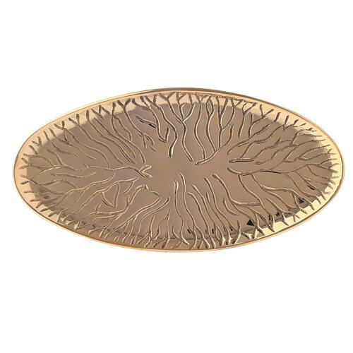 Piatto portacero ovale ottone dorato design radici 18x9 cm 2