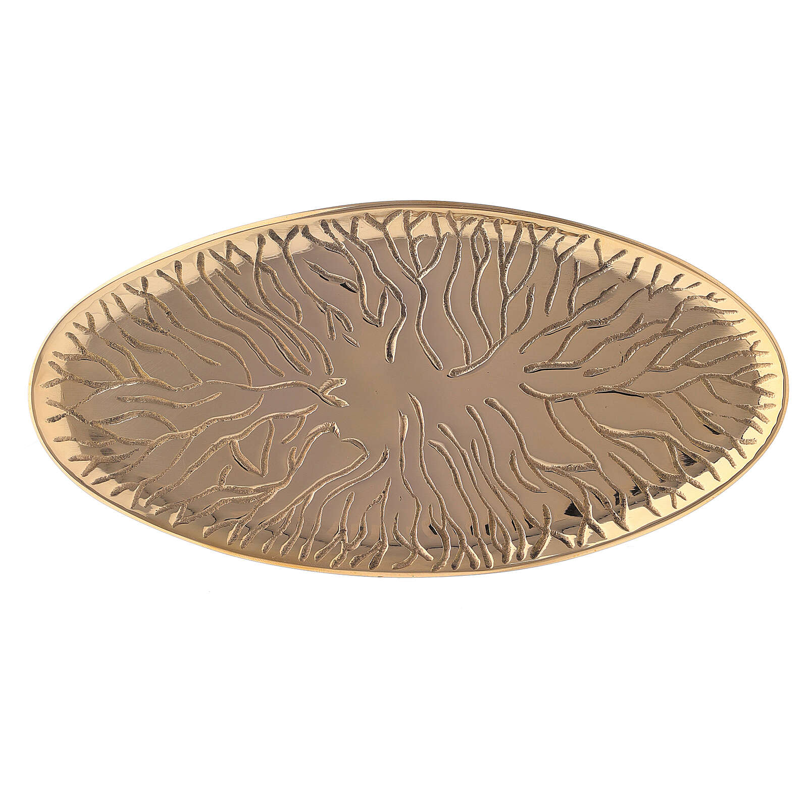 Prato porta-círio oval latão dourado desenho raízes 18x9 cm 3