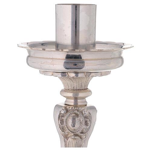 Chandelier d'autel laiton argenté trépied h 39 cm 3