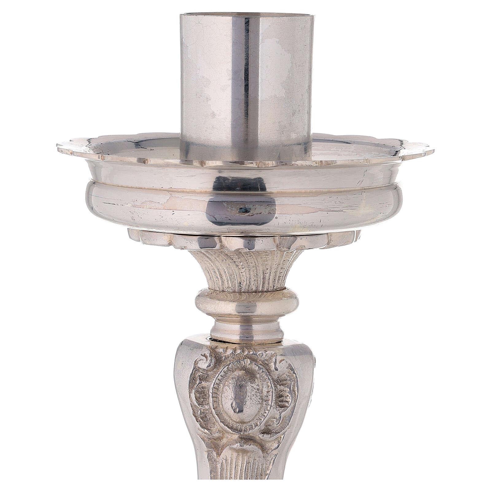 Candeliere da altare ottone argentato treppiede h 39 cm 4