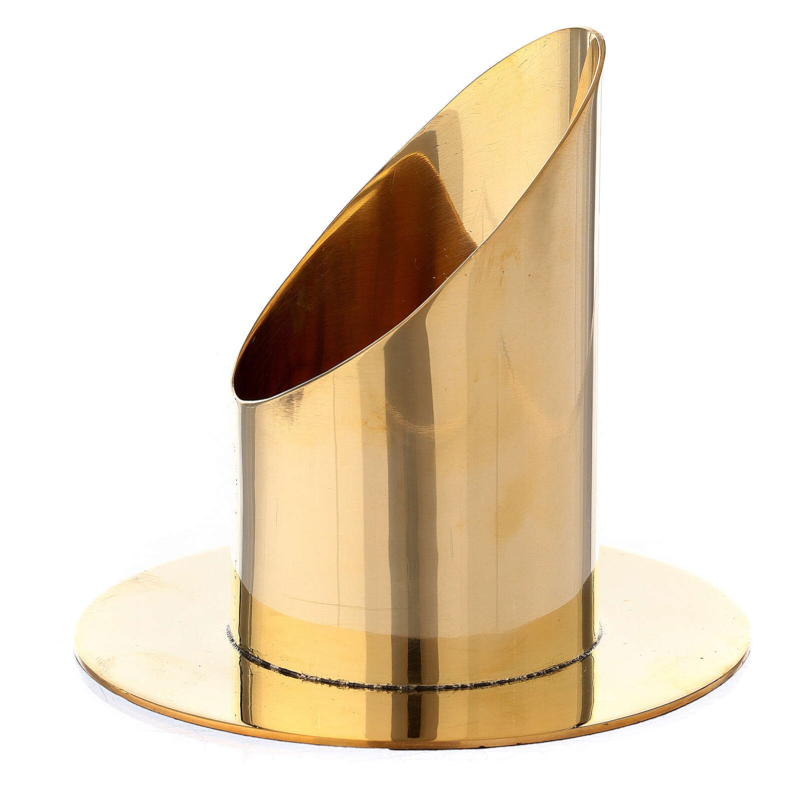 Portavela latón dorado lúcido vela 6 cm 4