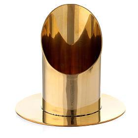 Portacandela ottone dorato lucido candela 6 cm s1