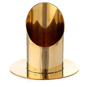 Polished gold plated brass candel holder for 2 1/2 in candle s1