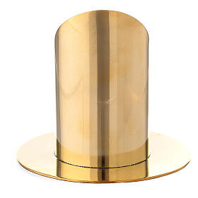 Polished gold plated brass candel holder for 2 1/2 in candle s3