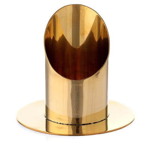 Polished gold plated brass candel holder for 2 1/2 in candle 1