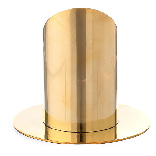 Polished gold plated brass candel holder for 2 1/2 in candle 3