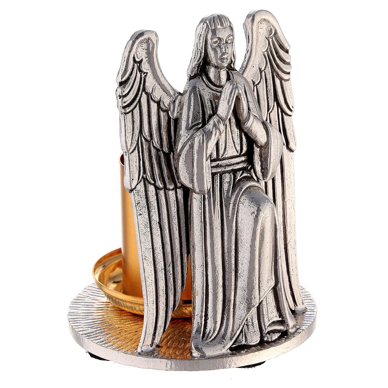 Candeliere bicolore angelo in preghiera fatto a mano 4