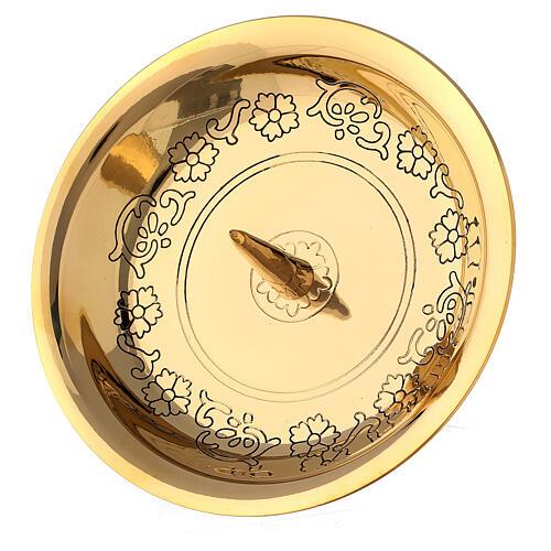 Portacandela ottone dorato punzone 10 cm 2