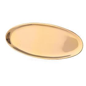 Plato portavela ovalado latón lúcido 16x7 cm s2
