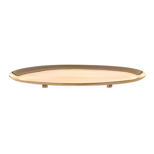 Plato portavela ovalado latón lúcido 16x7 cm 1