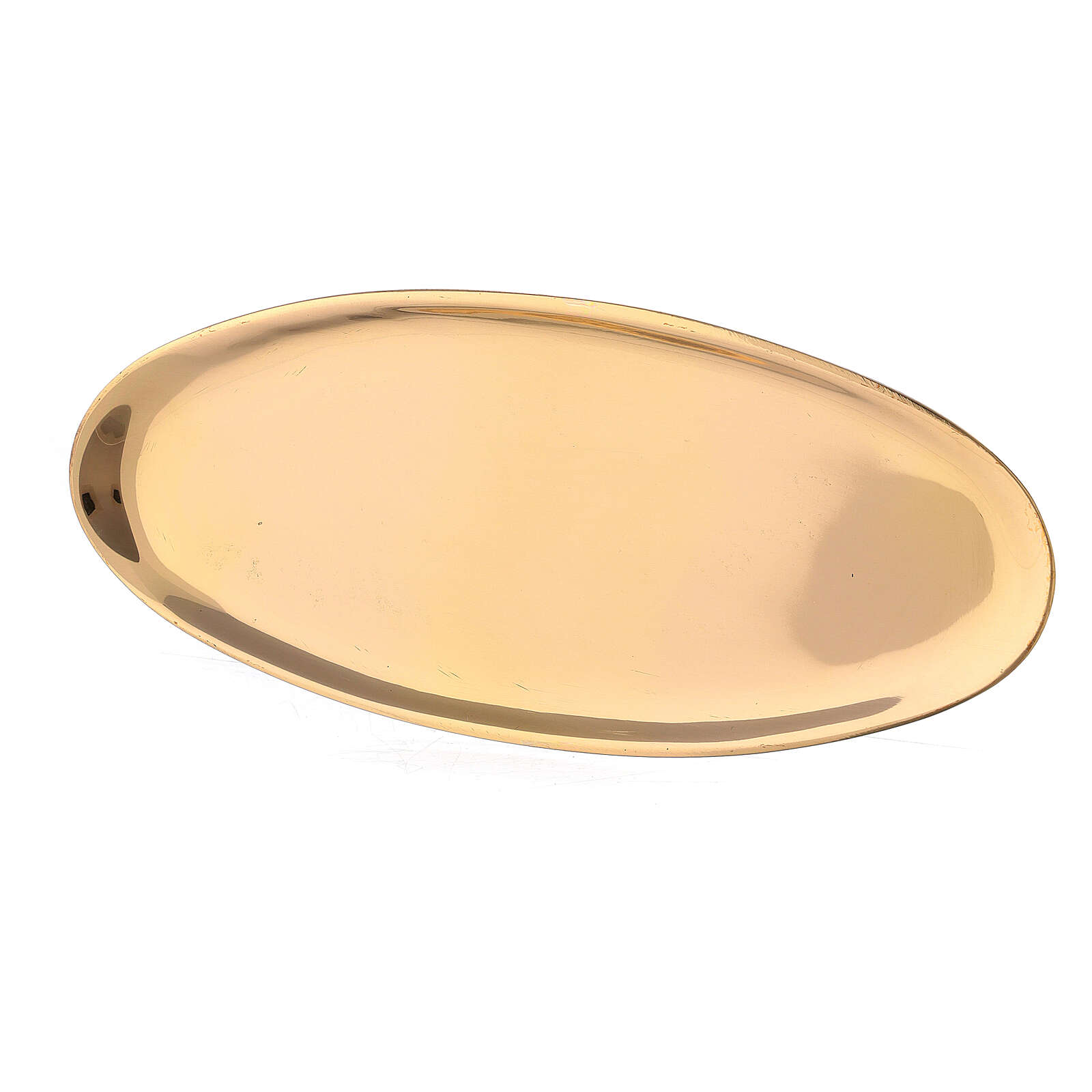 Oval candle holder plate of polished brass 6x3 in 3