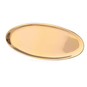 Oval candle holder plate of polished brass 6x3 in s2