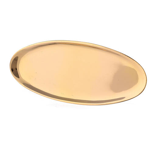 Oval candle holder plate of polished brass 6x3 in 2