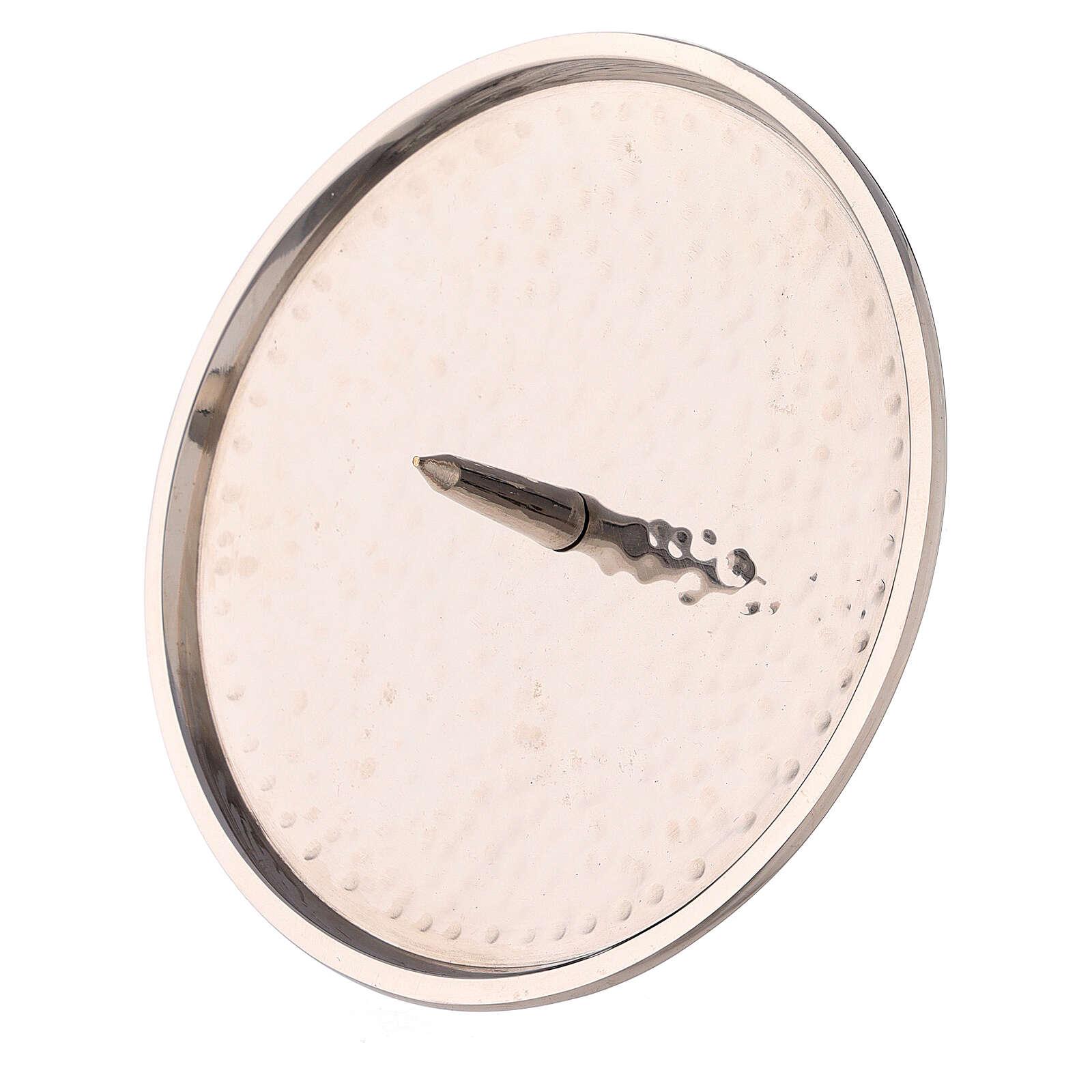Piatto portacandela ottone nichelato martellato 12 cm 3