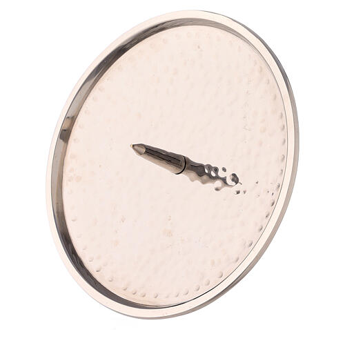 Hammered nickel-plated brass candle plate 4 3/4 in 2