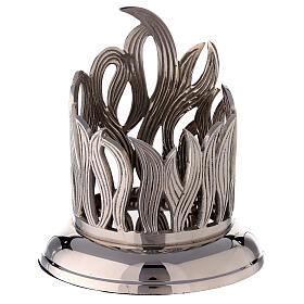 Portacandela fiamme ottone nichelato d 10 cm s1