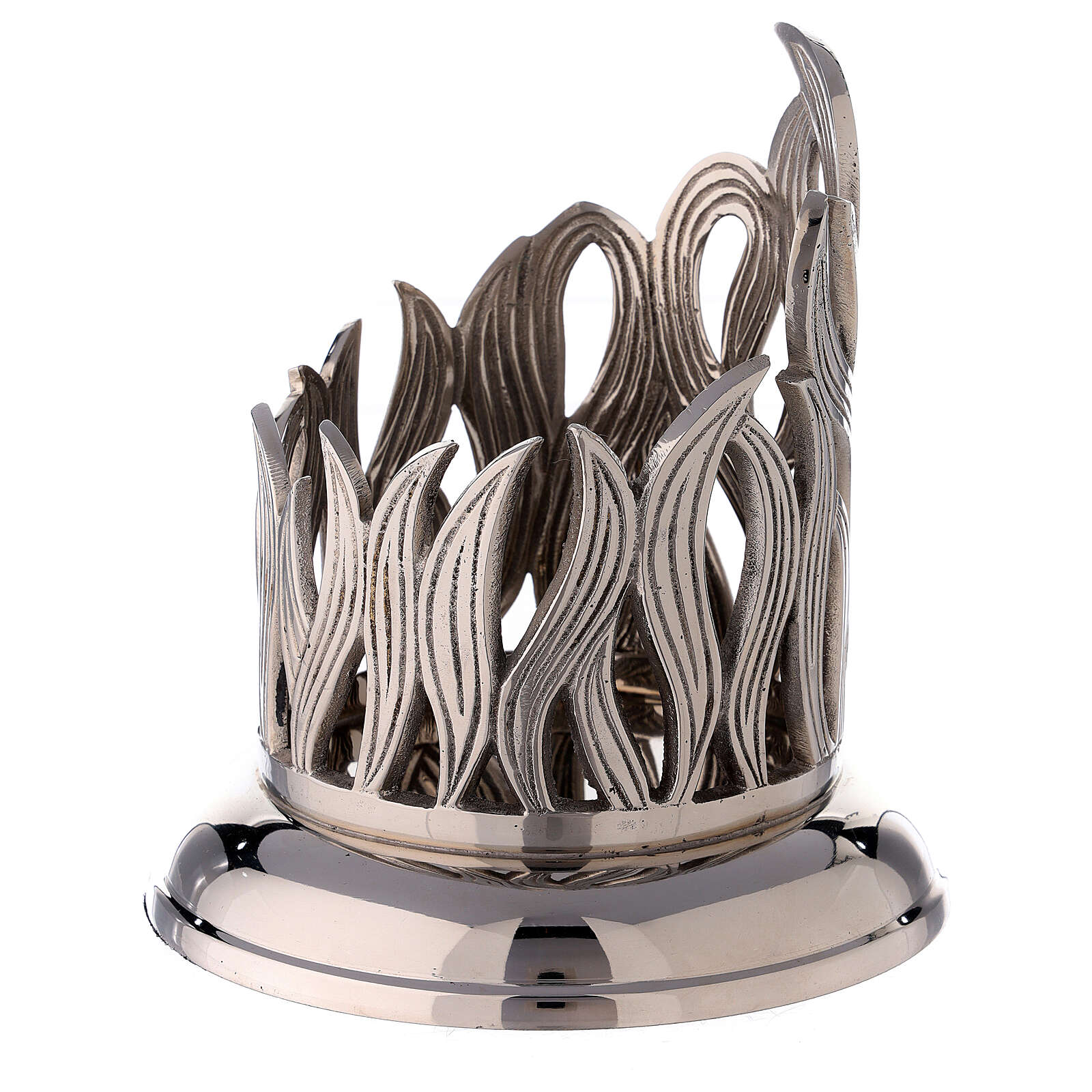 Nickel-plated brass candle holder with flames 4 in diameter 4