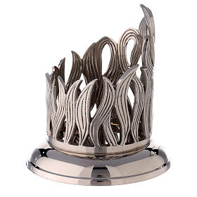 Nickel-plated brass candle holder with flames 4 in diameter s2