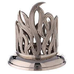 Nickel-plated brass candle holder with flames 4 in diameter s3